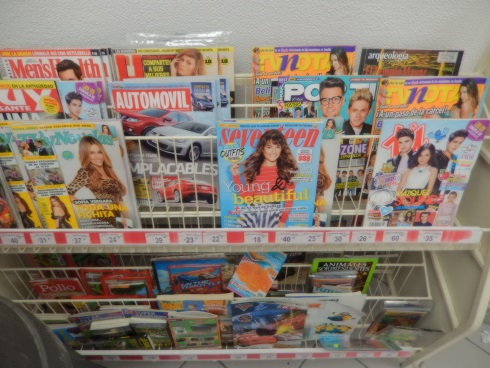 Magazines newspapers at the Puerto Aventuras Mexico OXXO convenience store