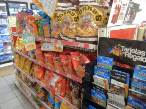 Snacks at the OXXO convenience store Puerto Aventuras Mexico